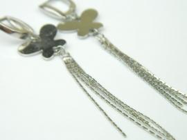 Cercei argint rodiat, aspect aur alb