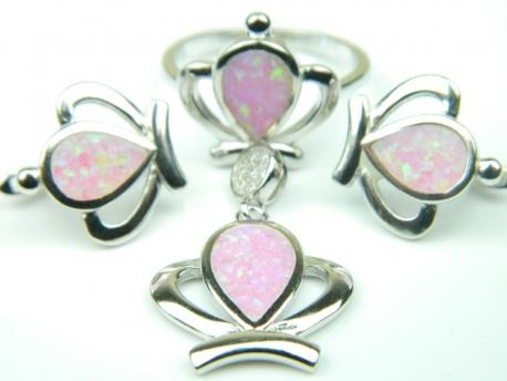 Set bijuterii argint rodiat, aspect aur alb, patru piese, opal roz