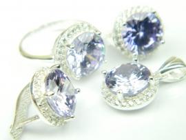 Set bijuterii argint, patru piese, ametist si zirconii
