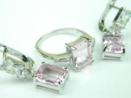 Set bijuterii argint rodiat, aspect aur alb, cercei si inel, topaz roz si zirconii