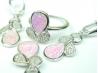 Set bijuterii argint rodiat, aspect aur alb, patru piese, opal roz si zirconia