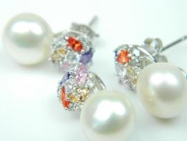 Set bijuterii argint rodiat, aspect aur alb, cercei si pandantiv, perla si turmaline