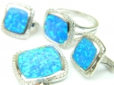 Set bijuterii argint rodiat, aspect aur alb, patru piese, opal verde si zirconia