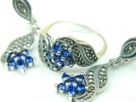 Set bijuterii argint, cercei si inel, safir si marcasite