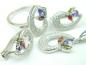 Set bijuterii argint rodiat, aspect aur alb, patru piese, turmaline si zirconii