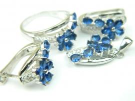 Set bijuterii argint rodiat, aspect aur alb, patru piese, safir si zirconii