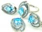 Set bijuterii argint rodiat, aspect aur alb, patru piese, topaz bleu si zirconii