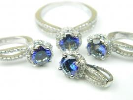 Set bijuterii argint rodiat, aspect aur alb, patru piese, topaz mistic si zirconia