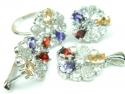 Set bijuterii argint rodiat, aspect aur alb, patru piese, citrin, granat, ametist, topaz alb si zirconia