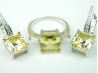 Set bijuterii argint rodiat, aspect aur alb, cercei si inel, citrin si zirconii