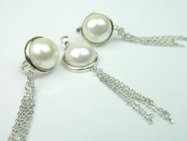 Set bijuterii argint rodiat, aspect aur alb, cercei si pandantiv, perle