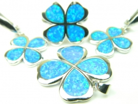 Set bijuterii argint rodiat, aspect aur alb, patru piese, opal imperial