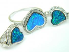 Set bijuterii argint rodiat, aspect aur alb, inel si cercei, opal imperial si zirconii