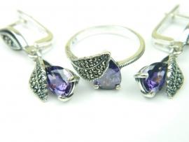 Set bijuterii argint rodiat, aspect aur alb, cercei si inel, ametist si marcasite