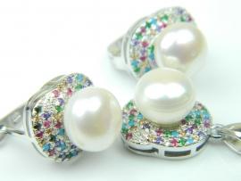 Set bijuterii argint rodiat, aspect aur alb, cercei si pandantiv, perle si zirconii multicolore