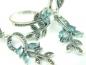 Set bijuterii argint rodiat, aspect aur alb, cercei si inel, topaz bleu si marcasite