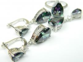 Set bijuterii argint, patru piese, topaz mistic si zirconii
