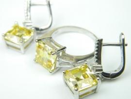 Set bijuterii argint rodiat, aspect aur alb, inel si cercei, citrin si zirconii