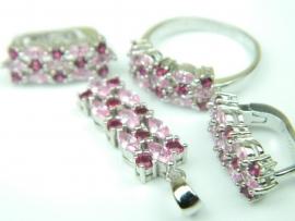 Set bijuterii argint rodiat, aspect aur alb, patru piese, topaz roz si rubin