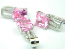 Set bijuterii argint rodiat, aspect aur alb, cercei si pandantiv, topaz roz si zirconii