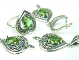 Set bijuterii argint rodiat, aspect aur alb, patru piese, zultanit si marcasite