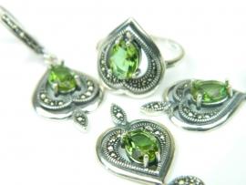 Set bijuterii argint, patru piese, zultanit si marcasite