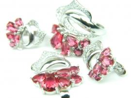Set bijuterii argint rodiat, aspect aur alb, patru piese, rubin si zirconii