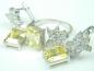 Set bijuterii argint rodiat, aspect aur alb, cercei si inel, topaz alb si citrin