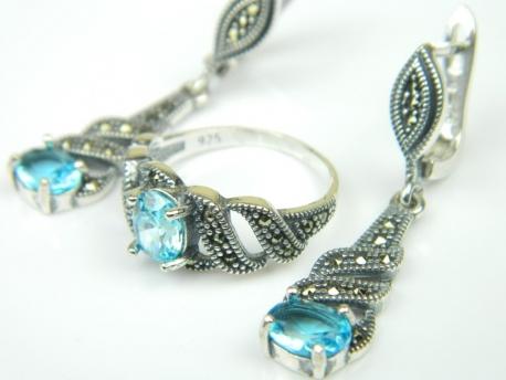 Set bijuterii argint, cercei si inel, topaz bleu si marcasite
