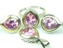 Set bijuterii argint rodiat si aurit, handmade, vintage, topaz roz