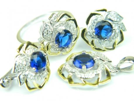 Set bijuterii argint rodiat si aurit, patru piese, safir si zirconii
