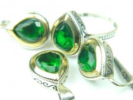 Set bijuterii argint rodiat si aurit, handmade, vintage, smarald