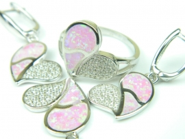 Set bijuterii argint rodiat, aspect aur alb, patru piese, opal roz si zirconii