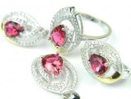 Set bijuterii argint rodiat si aurit, patru piese, rubin si zirconii