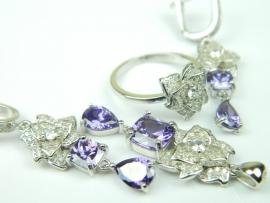 Set bijuterii, argint rodiat, aspect aur alb, patru piese, ametist si zirconii