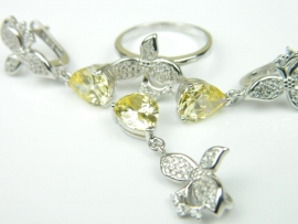 Set bijuterii, argint rodiat, aspect aur alb, patru piese, citrin si zirconii