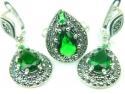 Set bijuterii argint, cercei si inel, smarald si marcasite