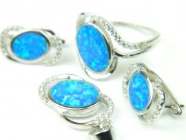 Set bijuterii argint rodiat, aspect aur alb, patru piese, opal imperial si zirconii
