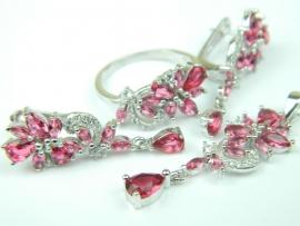 Set bijuterii argint rodinat, patru piese, rubin si zirconii