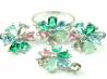 Set bijuterii argint rodinat, patru piese, turmaline si zirconia