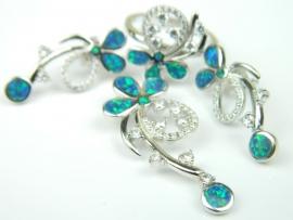 Set bijuterii argint rodiat, aspect aur alb, patru piese, opal verde si zirconii