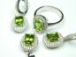 Set bijuterii argint rodiat, aspect aur alb, inel, cercei si pandantiv, zultanite si zirconii