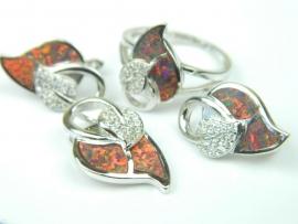 Set bijuterii argint rodiat, aspect aur alb, patru piese, opal de foc si zirconii