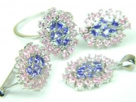 Set bijuterii argint rodiat, aspect aur alb, patru piese, topaz roz si ametist