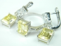 Set bijuterii argint rodiat, aspect aur alb, cercei si inel, citrin si topaz alb