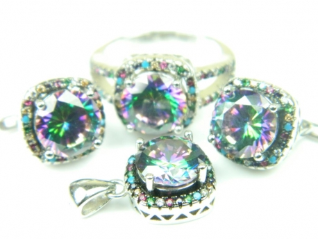 Set bijuterii argint rodiat, aspect aur alb, patru piese, topaz mistic si zirconii multicolore