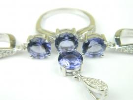 Set bijuterii argint rodiat, aspect aur alb, patru piese, ametist si zirconii multicolore