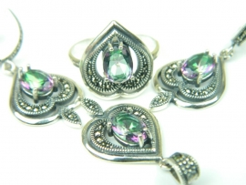 Set bijuterii argint, patru piese, topaz mistic si marcasite