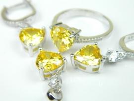 Set bijuterii argint rodiat, aspect aur alb, patru piese, citrin si zirconii
