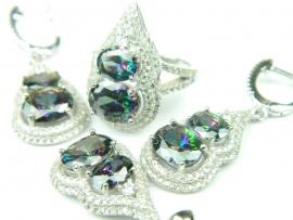 Set bijuterii, argint rodiat, aspect aur alb, patru piese, topaz mistic si zirconii